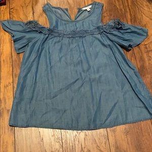 LC denim cold shoulder blouse